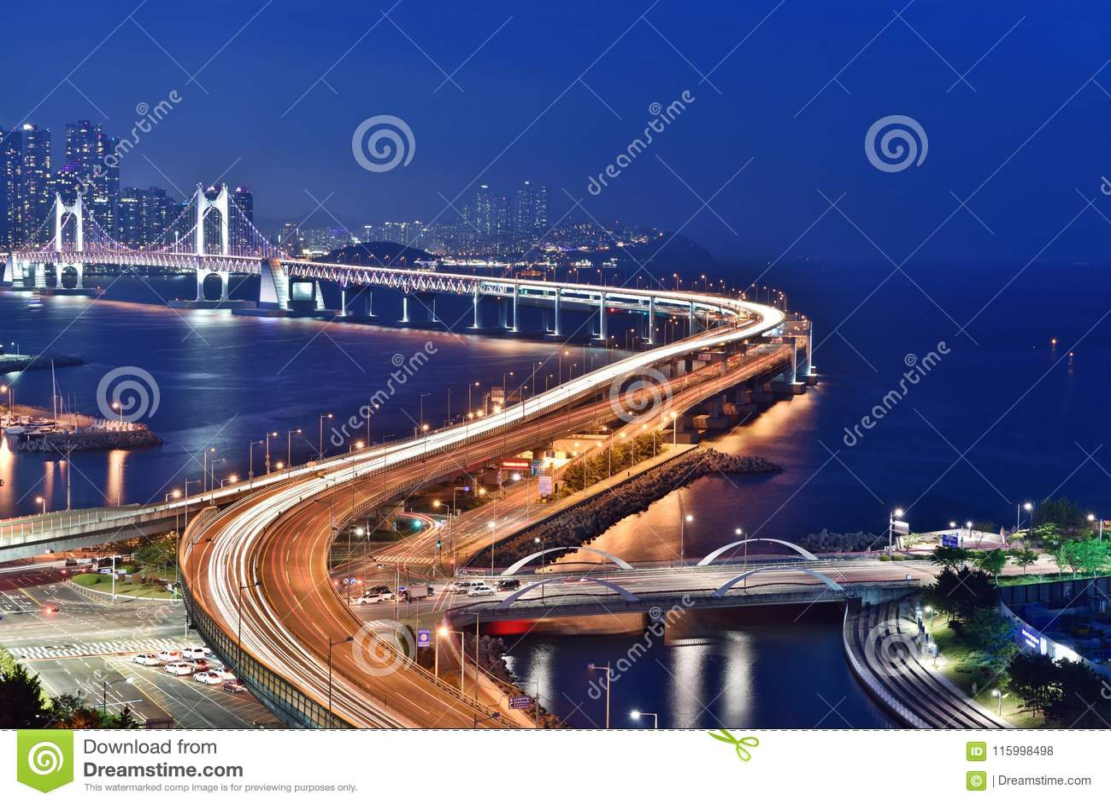Night Scene at Busan Bridge,Gwangan,South Korea