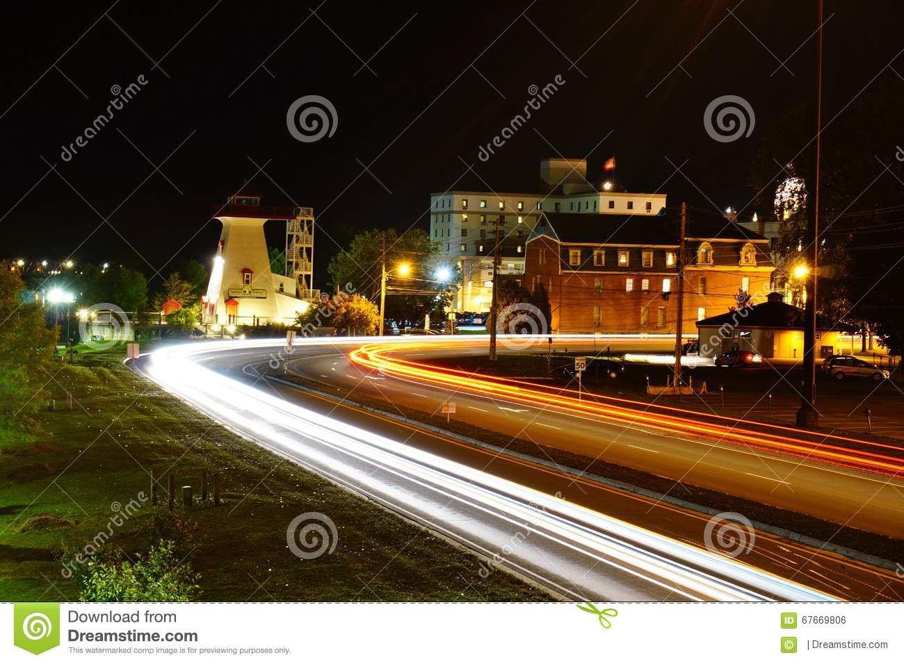 Night scene of fredericton stock photo image 67669806 for Famous house tracks