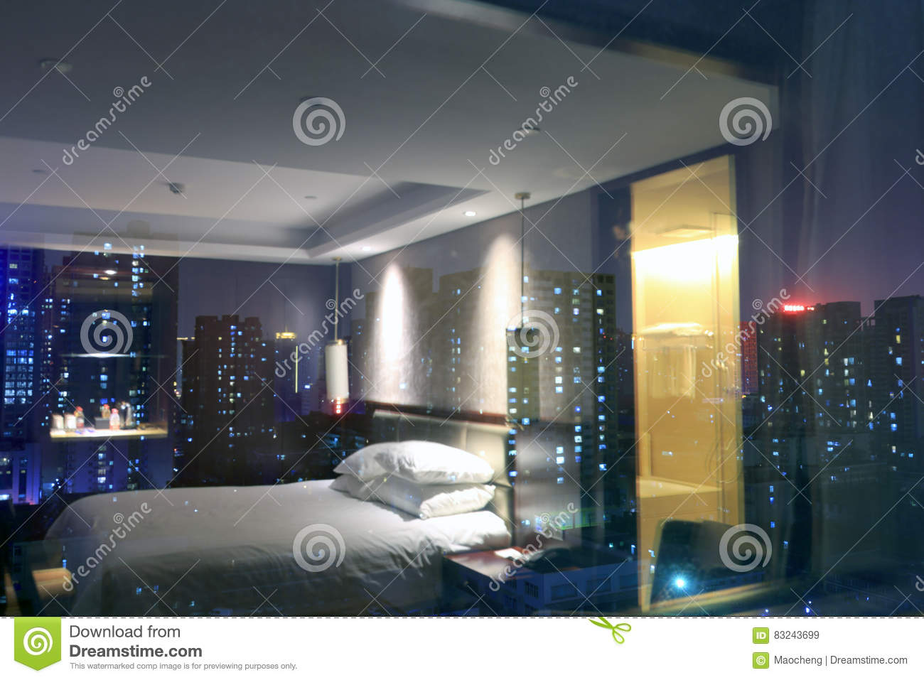 Window at night from outside - Night Scene Outside The Window Of Bedroom Stock Photo