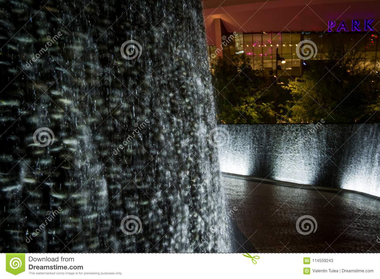 Night scene from The Park Water Wall from Las Vegas