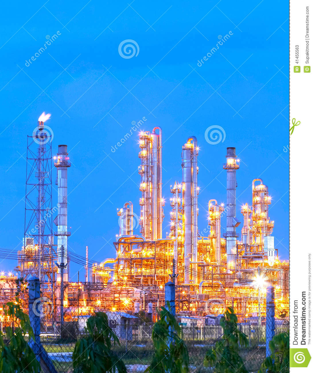 Night Scene Of Refining Plant ,Processed Using HDR Stock