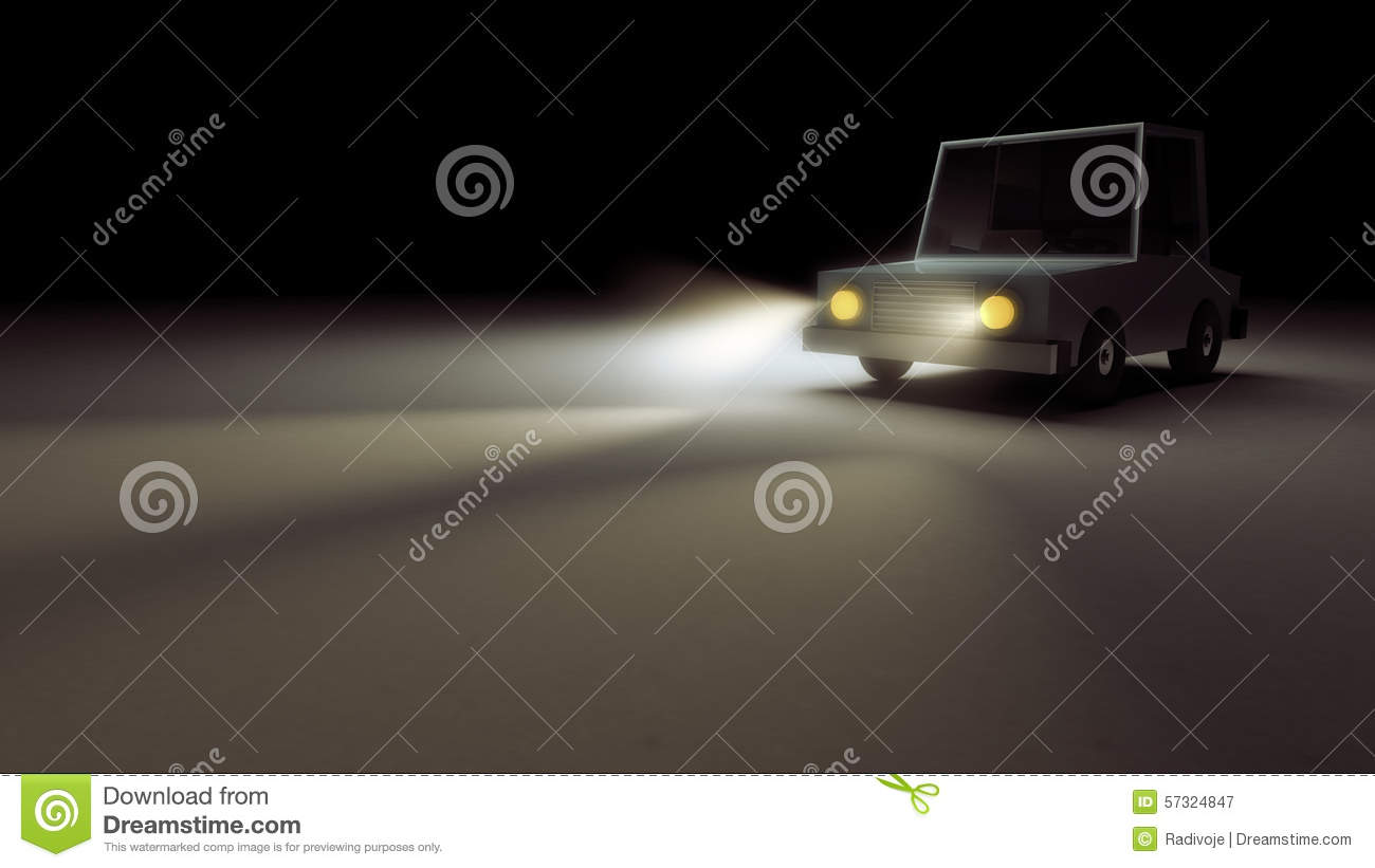 Night Scene Of A Retro Toy Car With Headlights On Stock Illustration