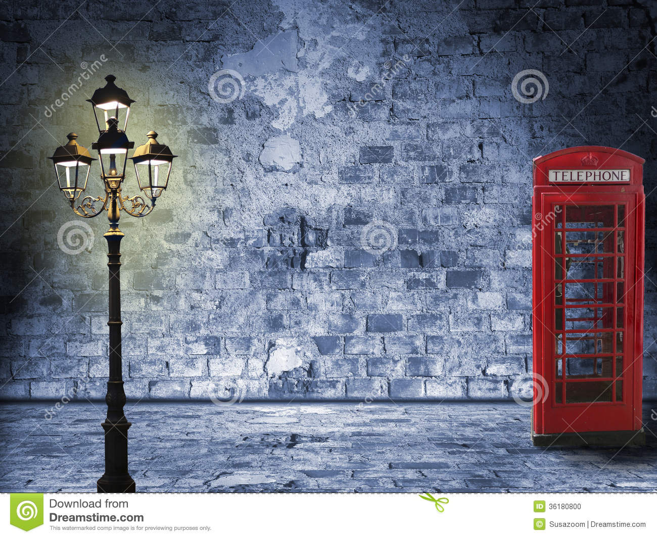 Vintage scenery brick wall lantern and phone box night scenery in