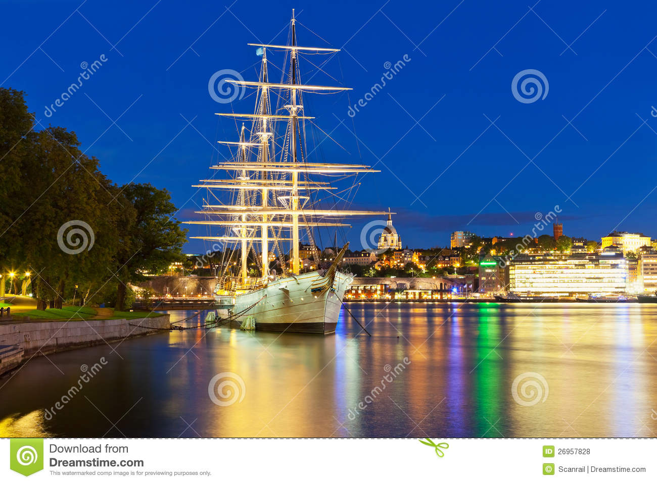 Night Scenery Of Stockholm, Sweden Royalty Free Stock Photos - Image: 26957828