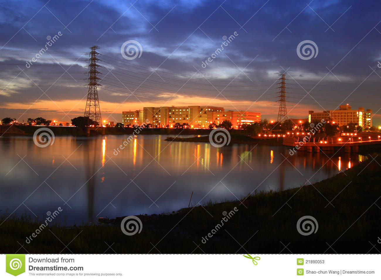 Download Night scenes of factory stock image. Image of manufacturing - 21890053