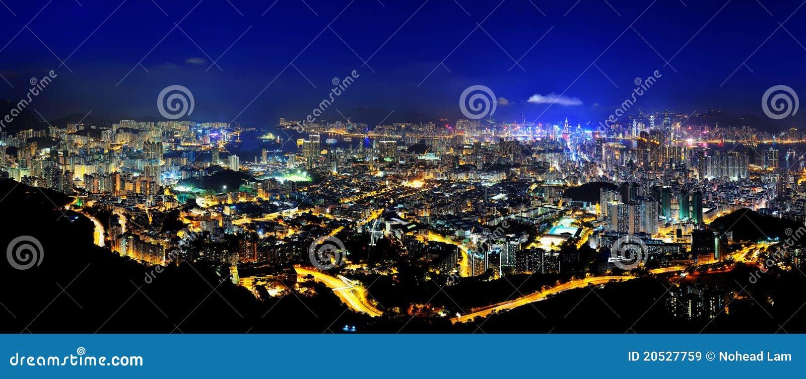 Download Night Scenes Of Hong Kong Panoramic Stock Image - Image of kowloon, dusk: 20527759