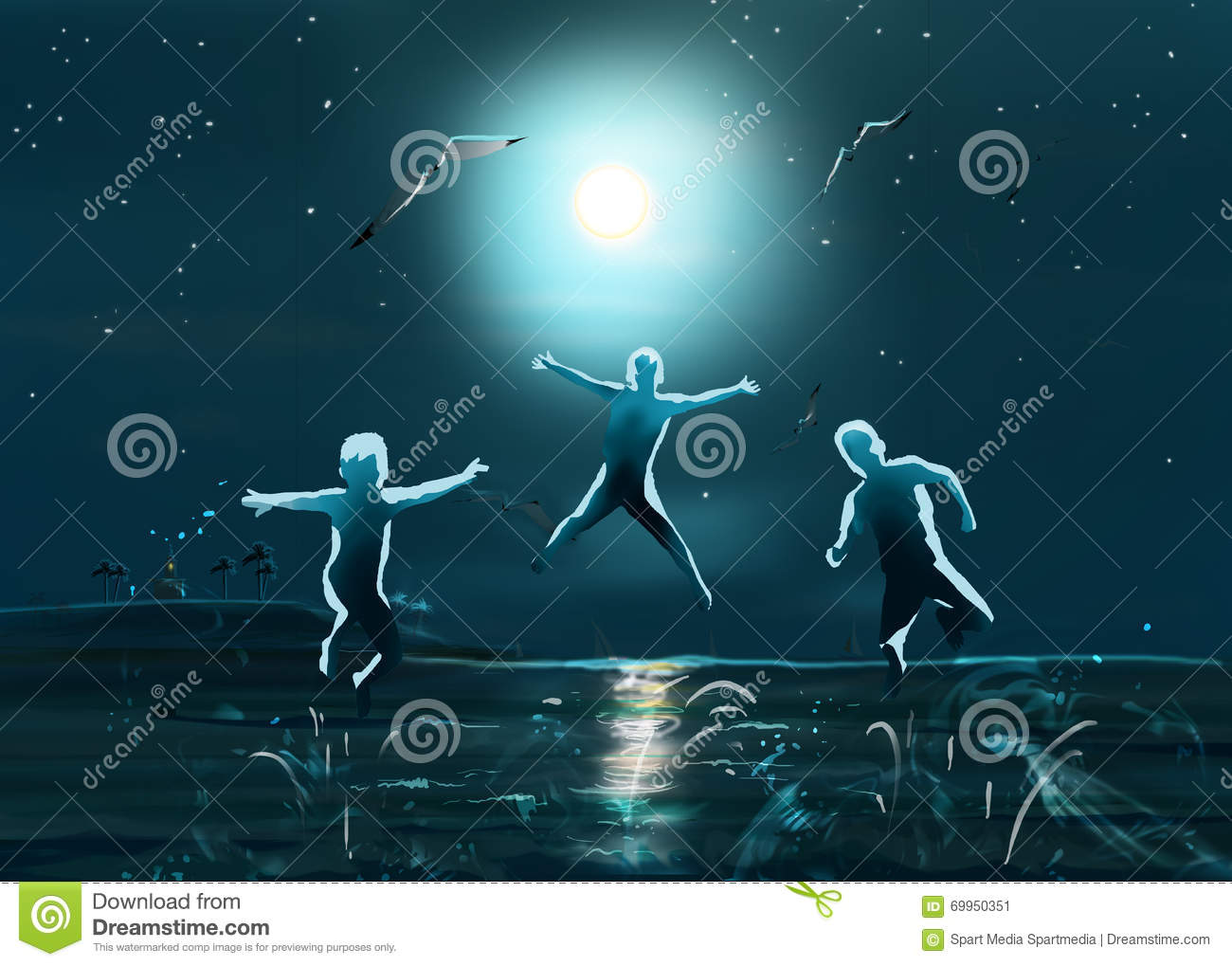Kids at night with moon royalty free stock photography image - Night Sea Beach Kids Jumping Stock Image