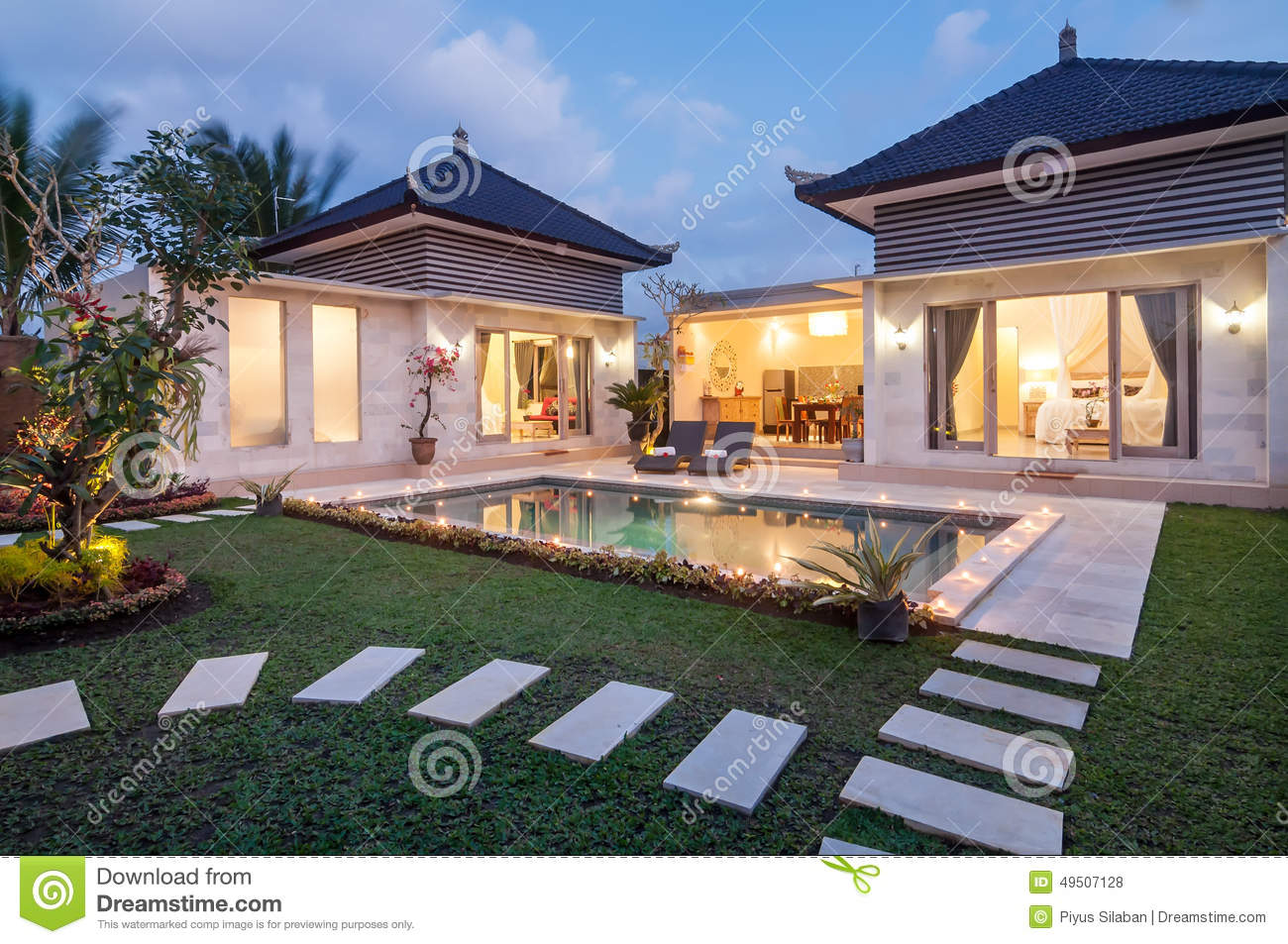 Night Shoot Luxury And Private Villa With Pool Outdoor Stock Photo Image 49507128