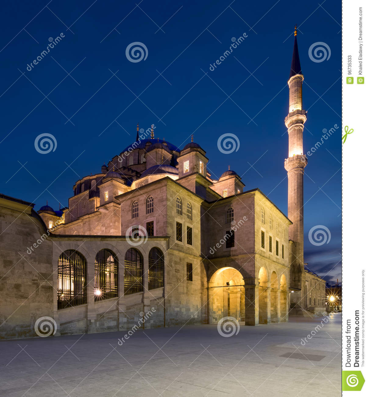 Night shot of Fatih Mosque,Istanbul, Turkey