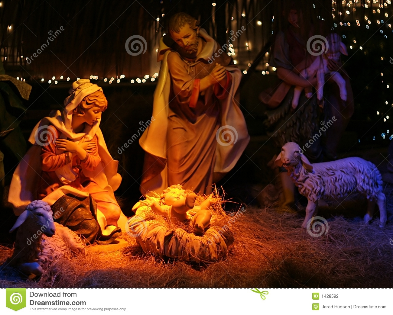 Night Shot Of A Nativity Scene Stock Photography - Image: 1428592