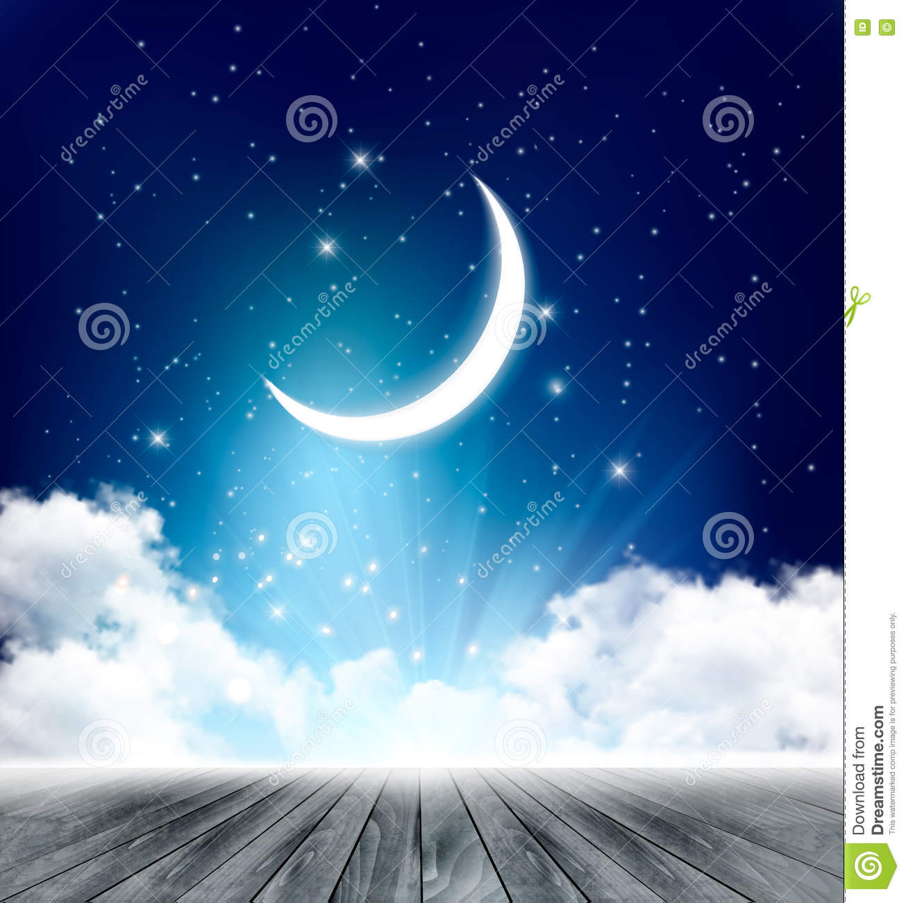 night sky background with with crescent moon clouds stock
