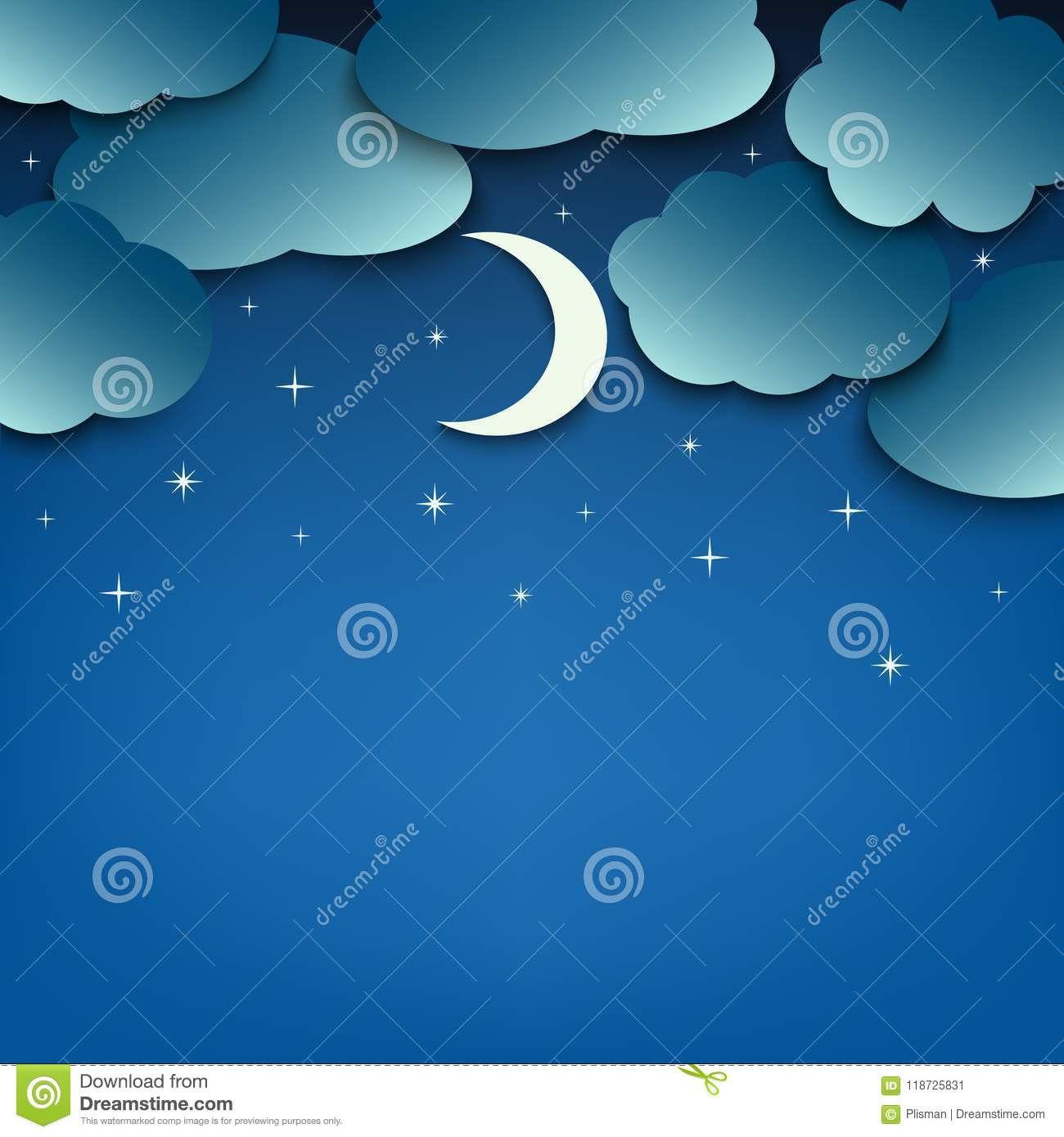 night sky with clouds and moon template stock vector illustration