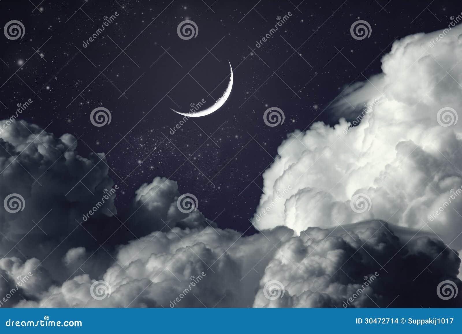 Cloudy Night Sky Stars Night Sky Stock...