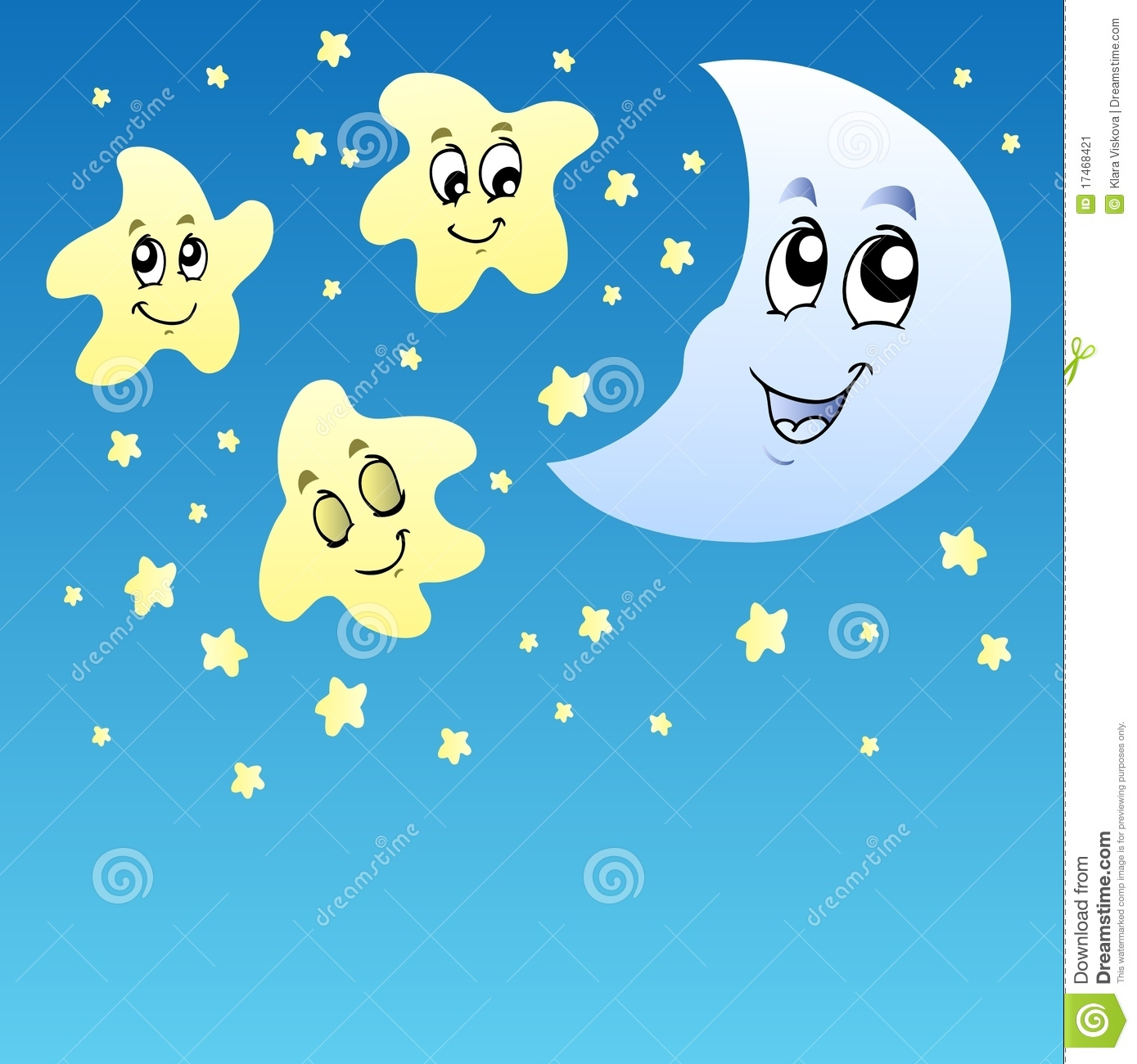 Night Sky With Cute Stars And Moon Stock Image - Image: 17468421
