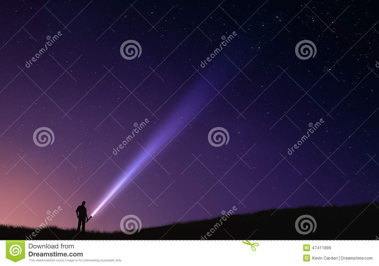 Night Sky Flash Light Stock Photo Image 47411899