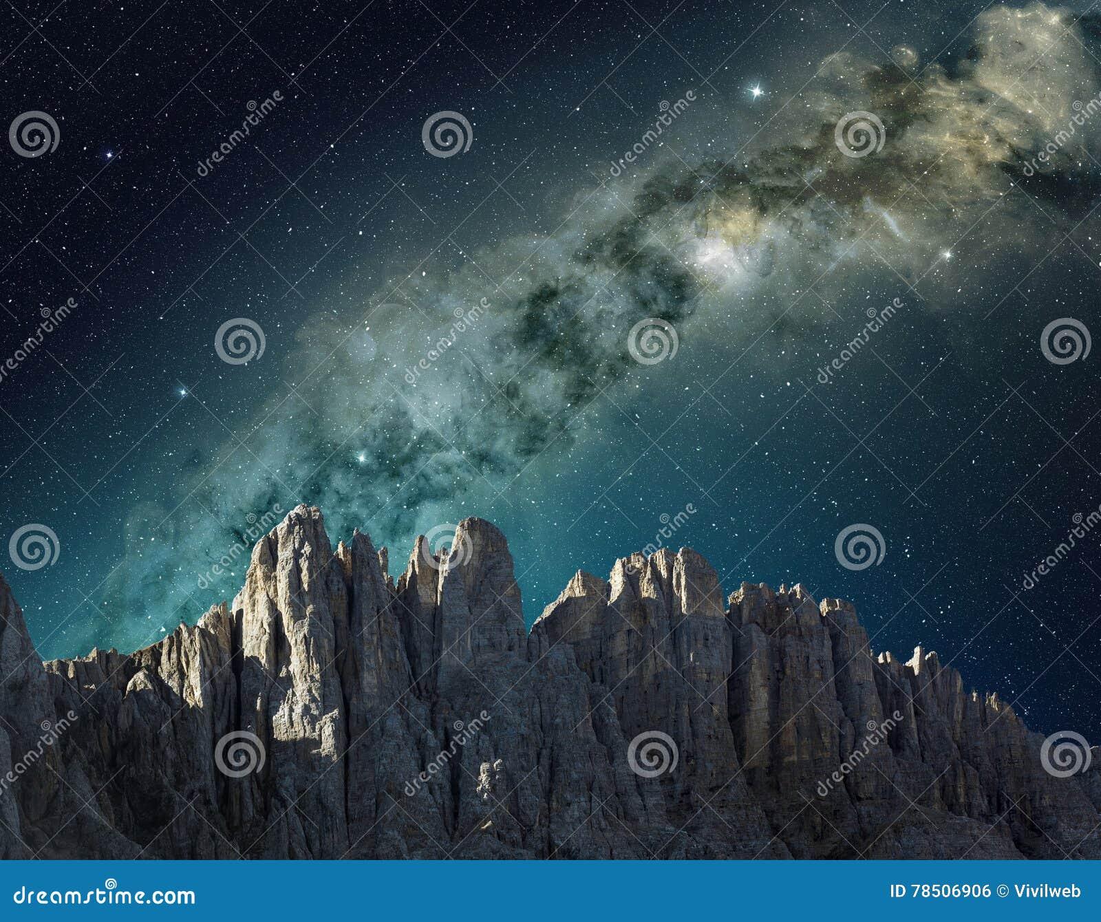 Night sky in mountain landscape