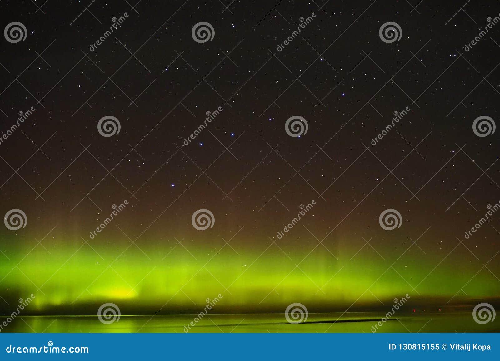 Aurora polar lights big dipper constellation stars