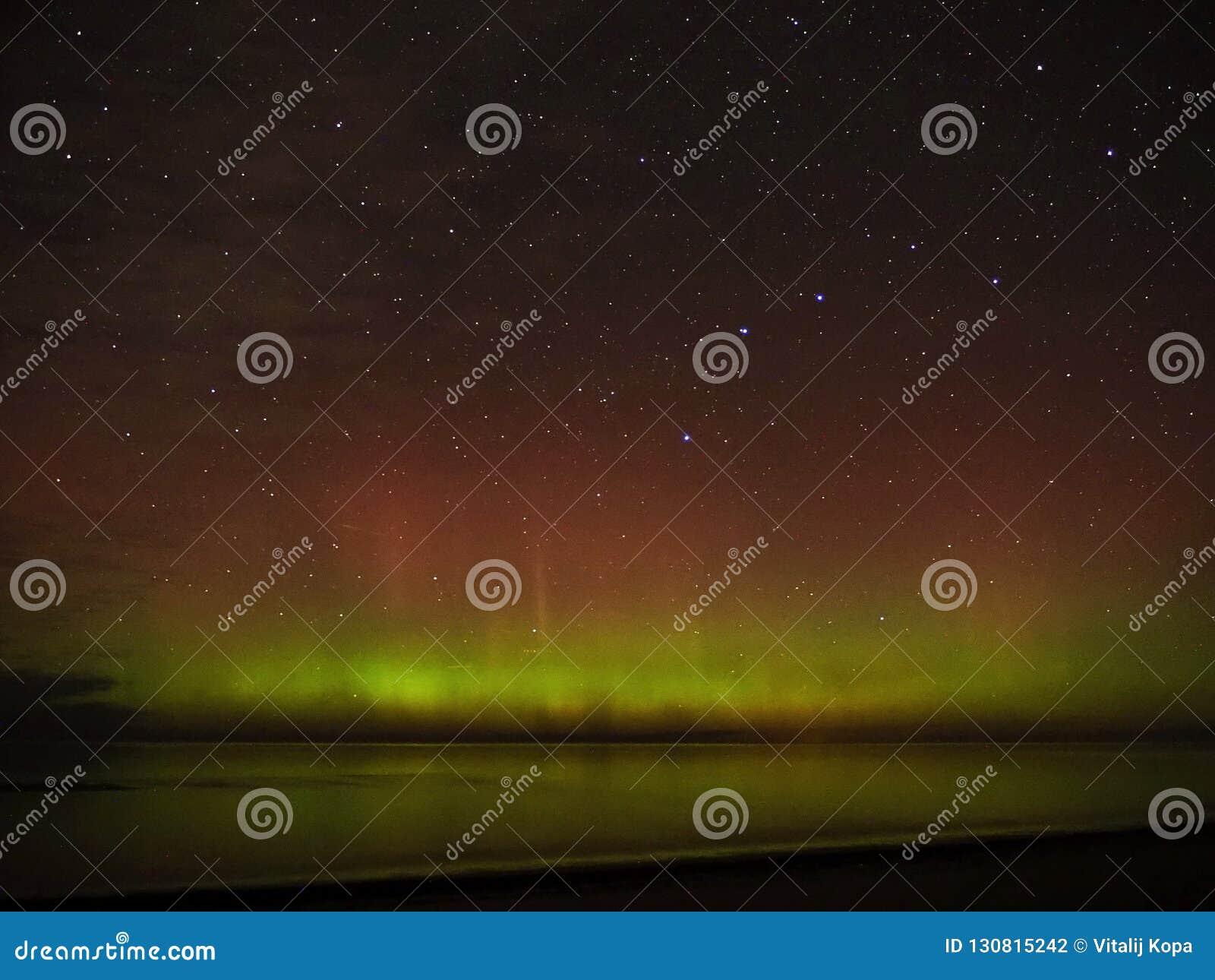 Night sky stars aurora polar lights big dipper constellation
