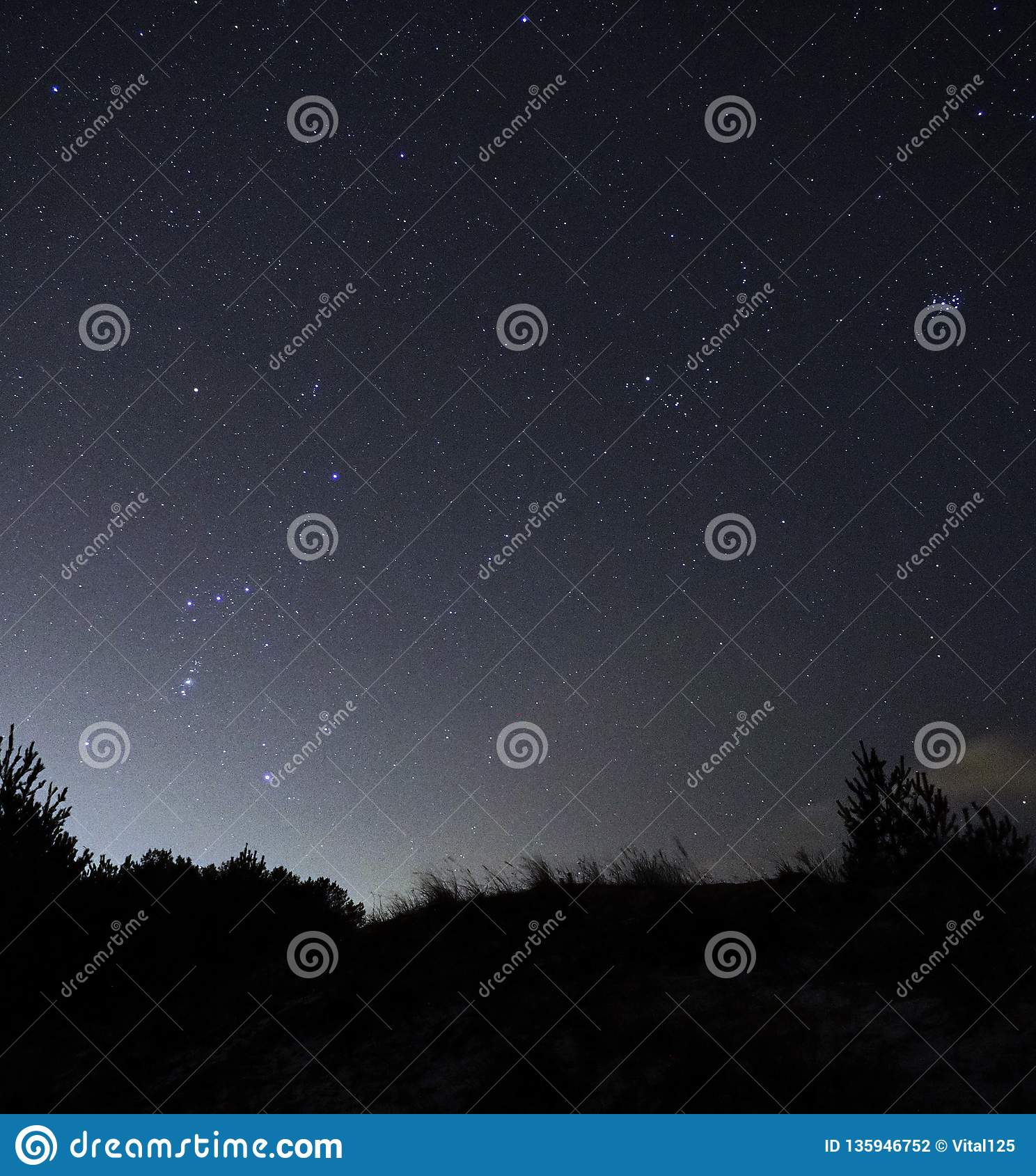 Night sky stars Orion and Taurus constellations observing