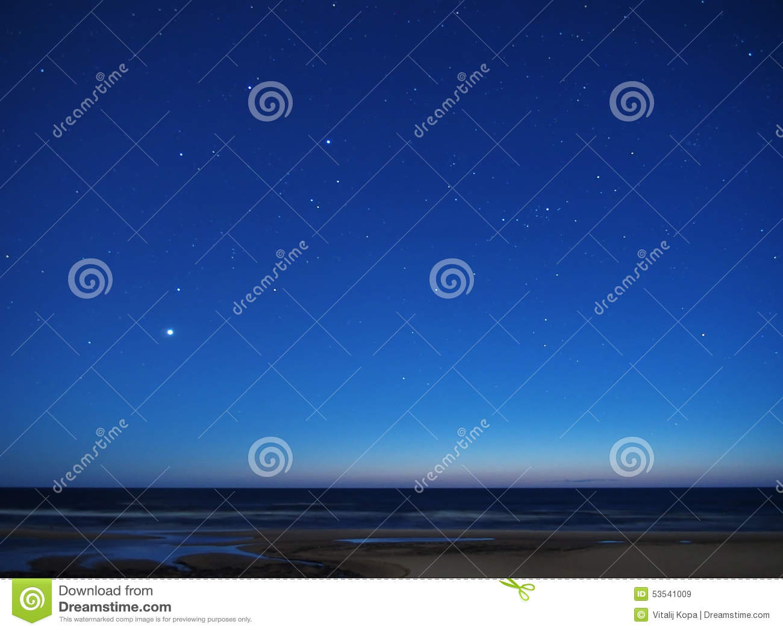 Night sky stars over sea venus auriga constellation