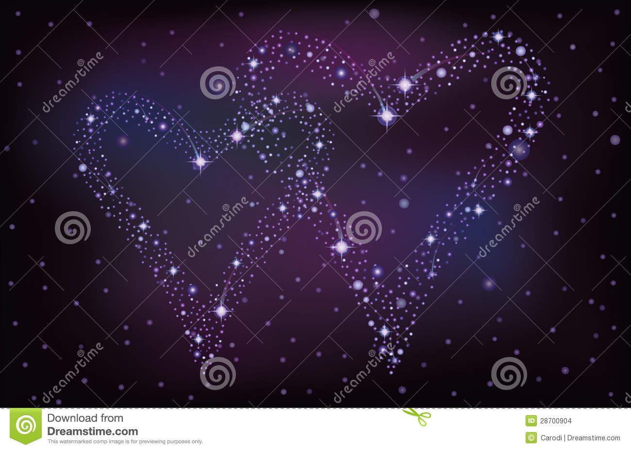 Night Sky With Two Stars Hearts Stock Vector Image 28700904