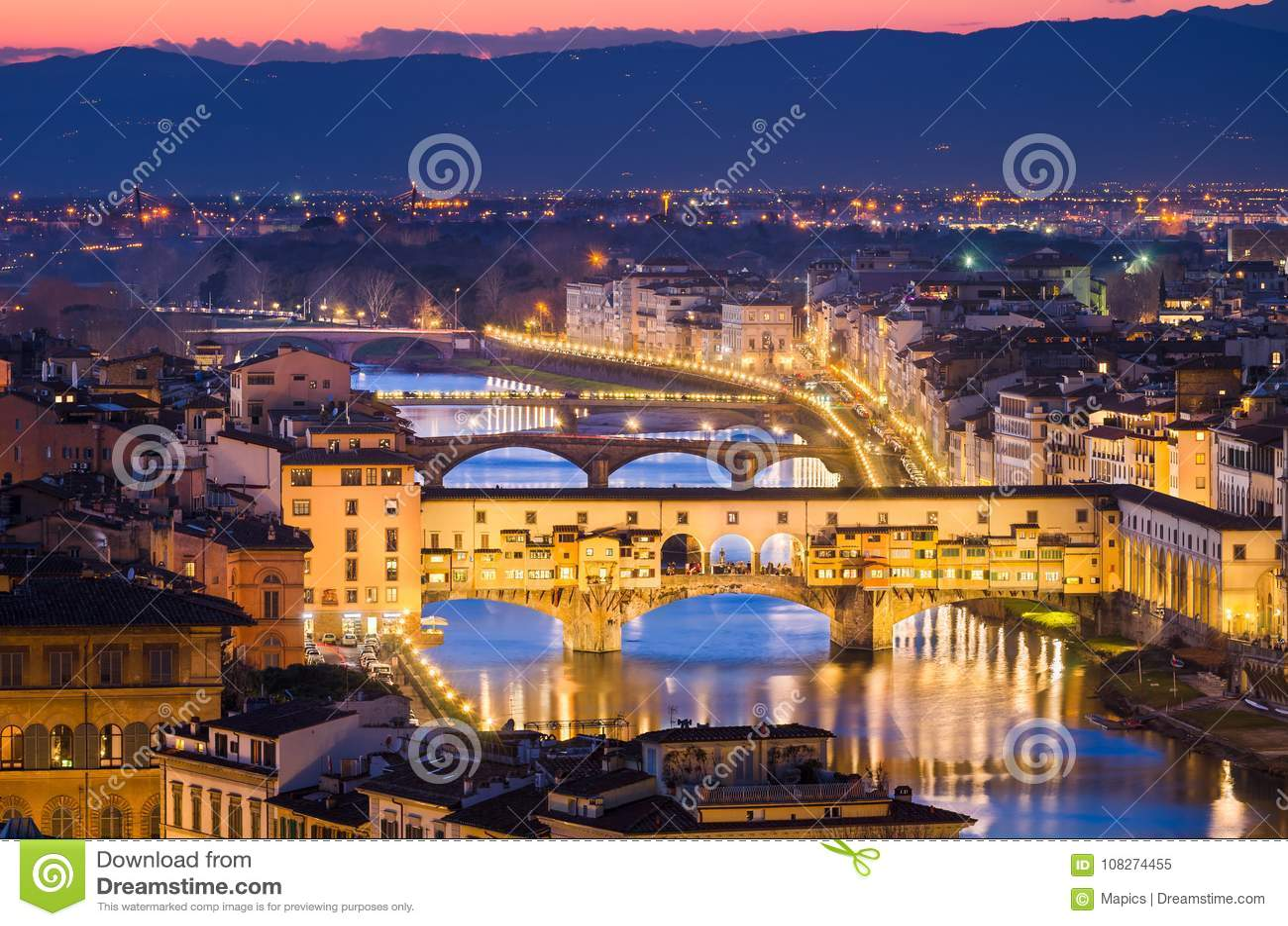 Ponte Vecchio Bridge At Night