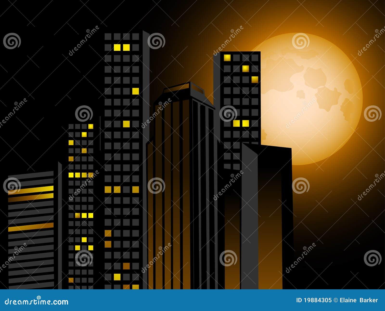 Night Skyline And Full Moon Royalty Free Stock Photo Image 19884305