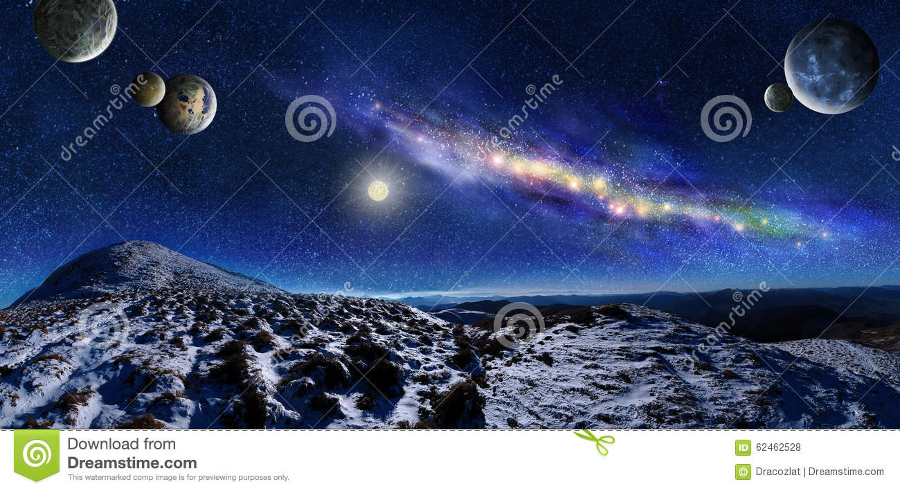 3d space landscape with stepping stones in the ocean stock for Space landscape