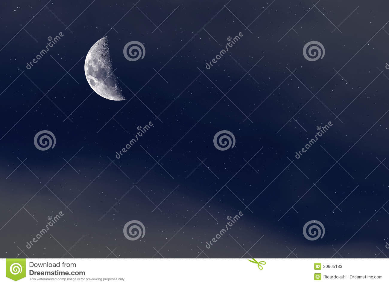 Night Starry Sky Background Crescent Moon Stock Images