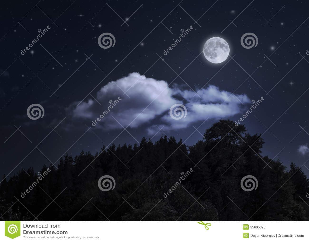 Night Starry Sky And Moon Over The Mountain Stock Image