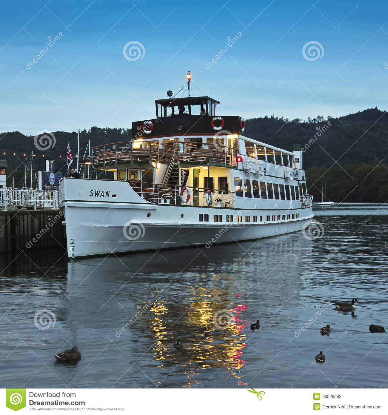 A Night Swan Shot In Bowness-on-Windermere Editorial Stock