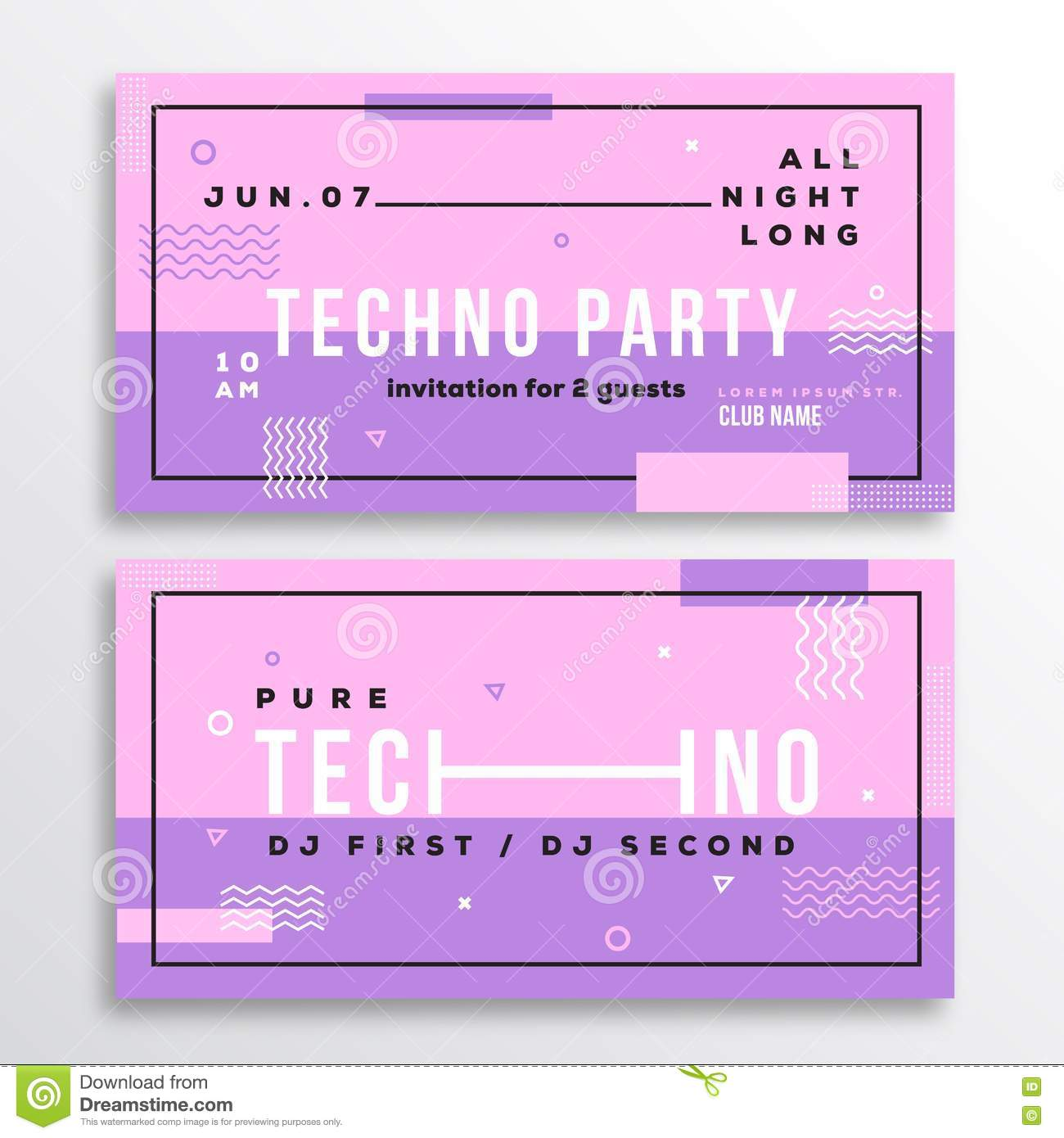 night techno party club invitation card or flyer template