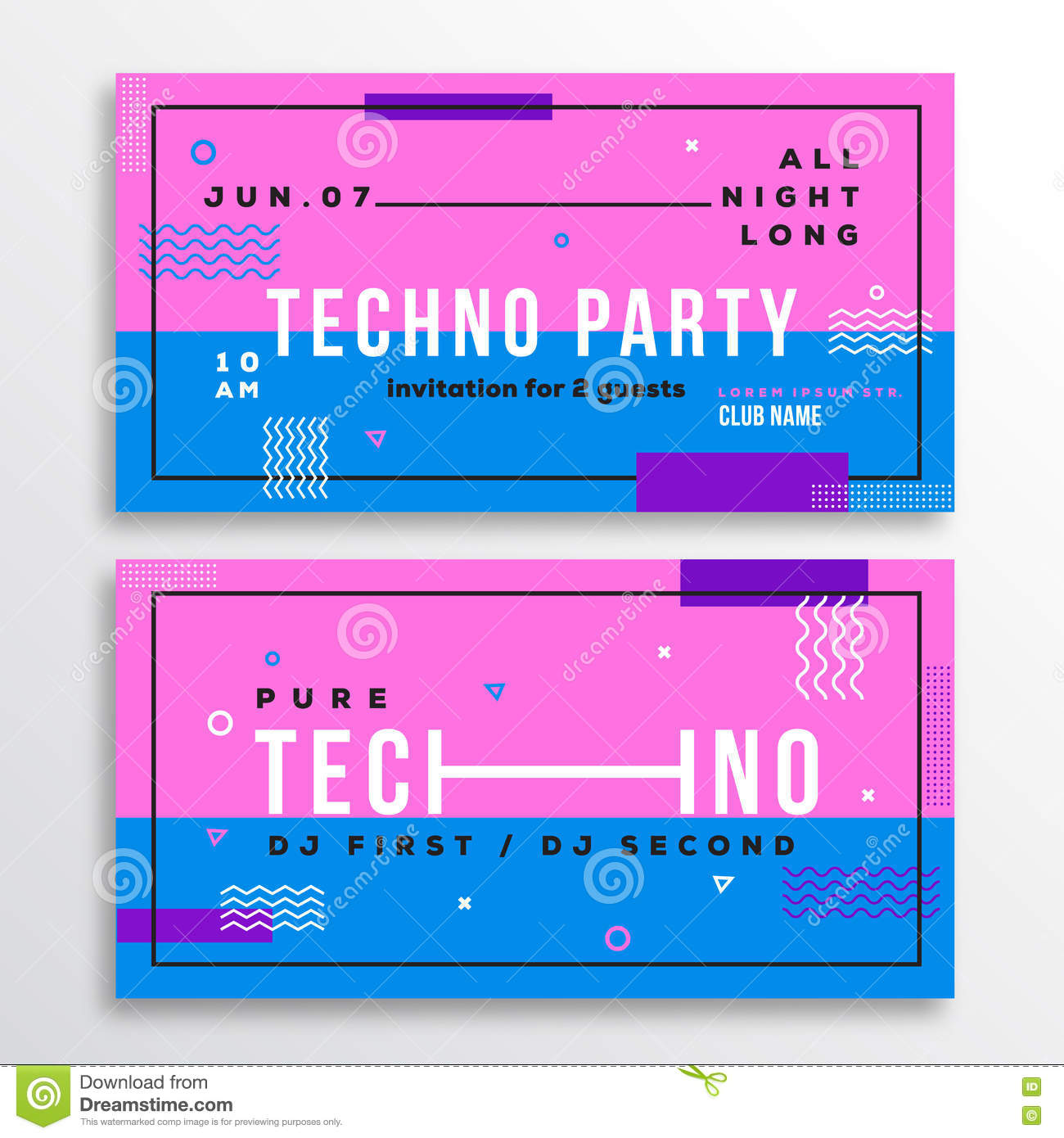 Night Techno Party Club Invitation Card Or Flyer Template. Modern Abstract  Flat Swiss Style Background With Decorative