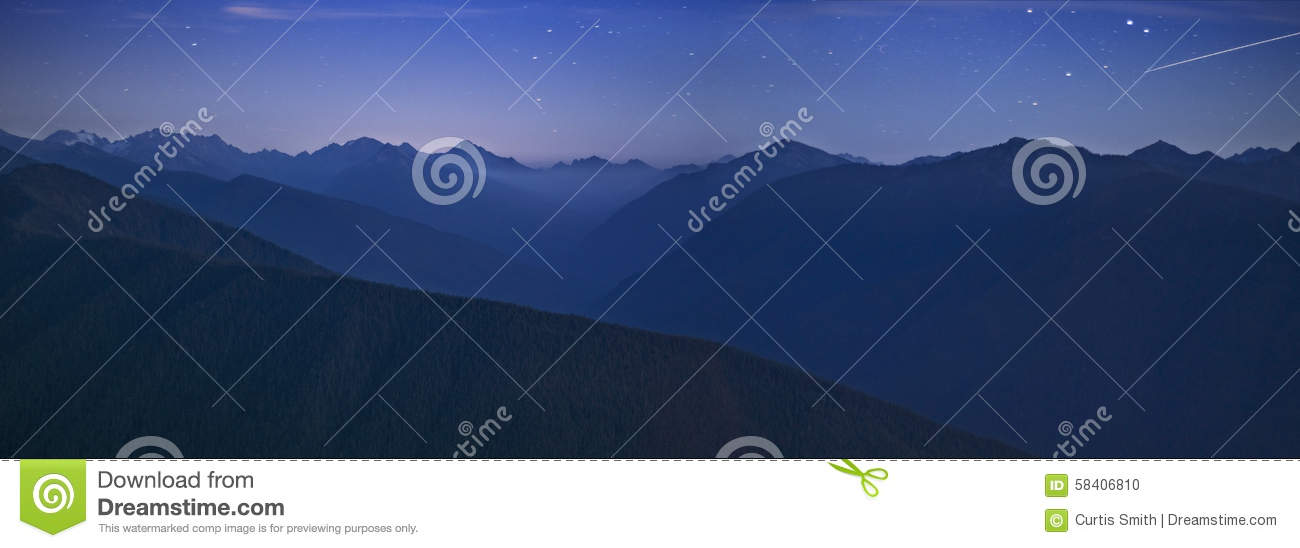 Olympic National Park mountains Night time sky and meteorite