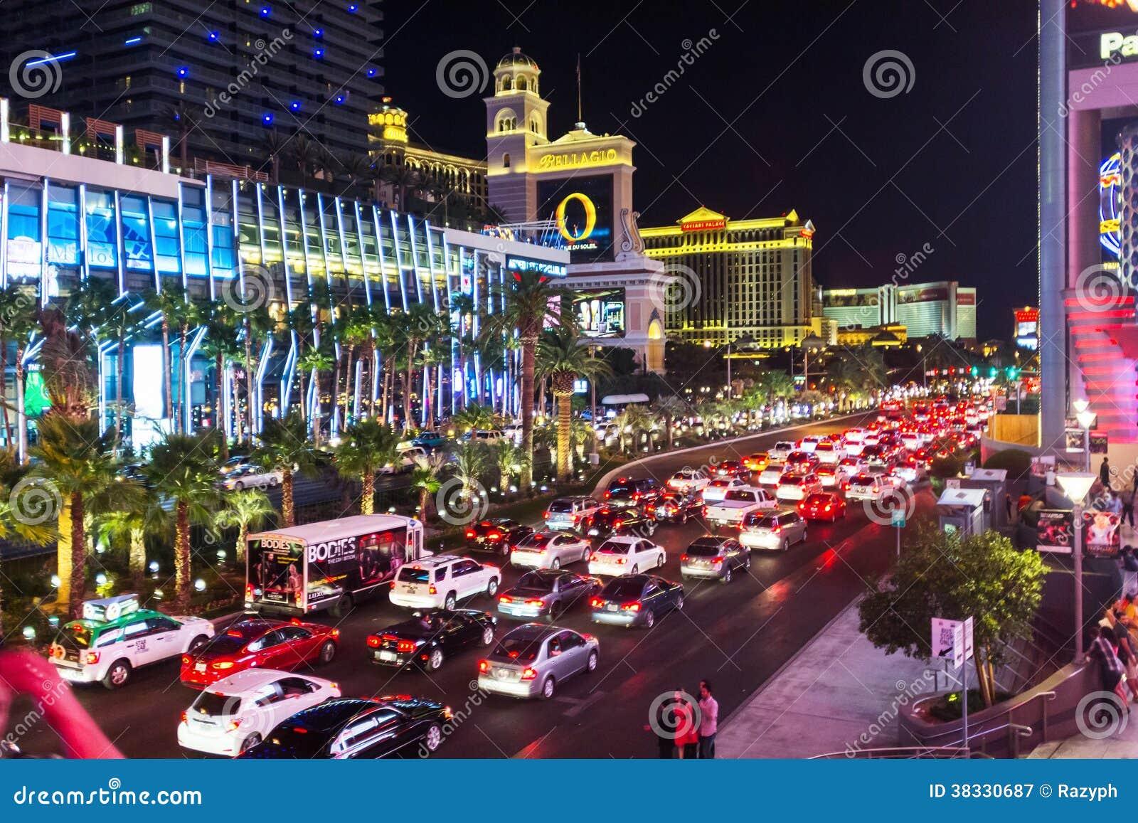 Night Traffic Jam In Vegas Editorial Photography Image Of