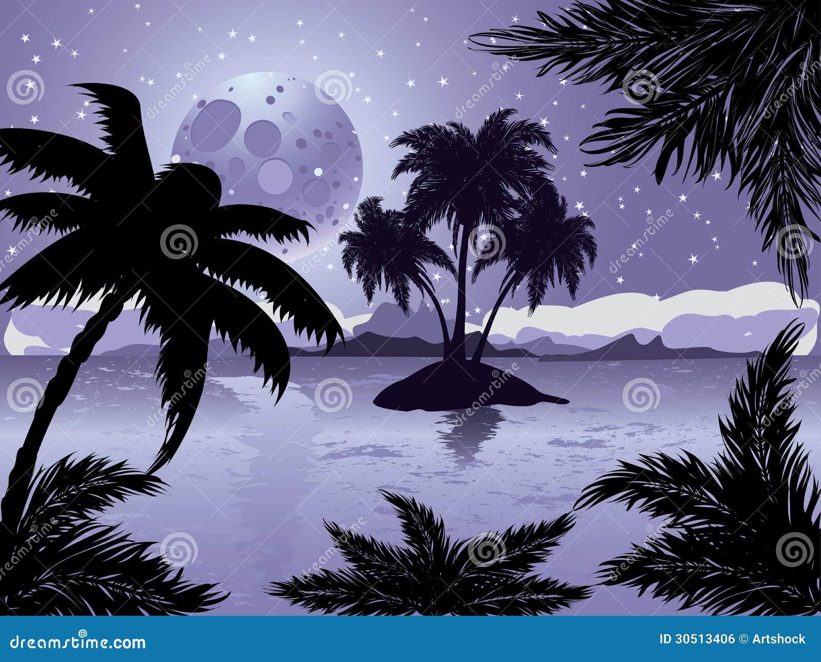 Tropical Island Beach Ambience Sound: Night Tropic Island Royalty Free Stock Image