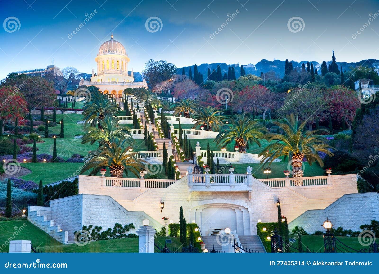 Night view on Bahai Gardens. Israel.