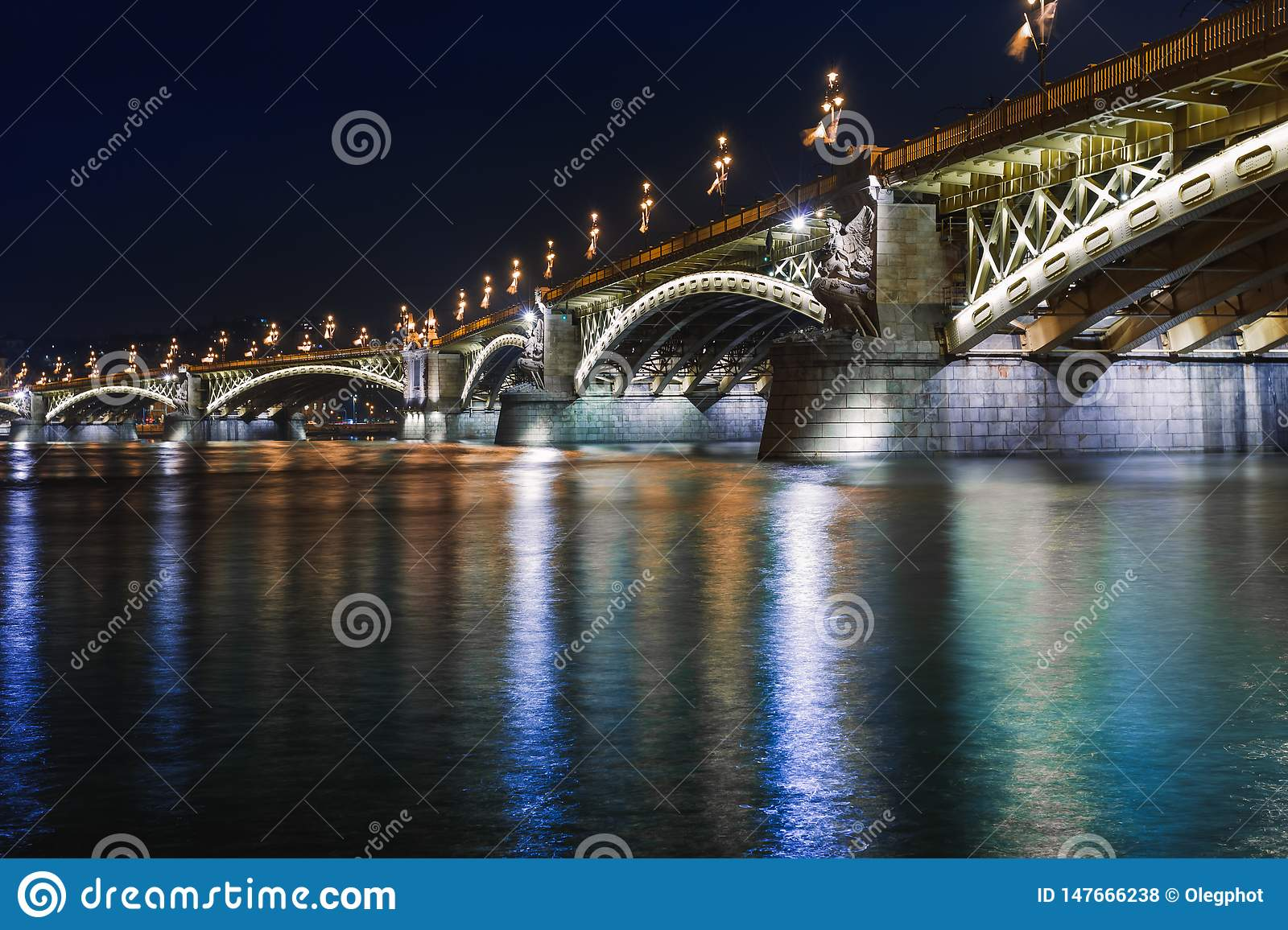 Night view of Budapest. Panorama cityscape of famous tourist destination with Danube and bridges. Travel illuminated landscape in