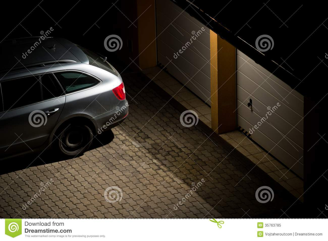 Night View Of A Car Parked In Front Of The Garage Stock Image Image 35763785