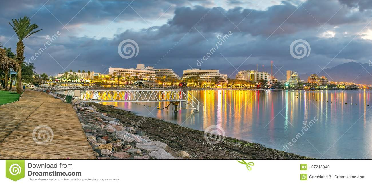 Night View On Central Public Beach In Eilat, Israel Stock Photo ...