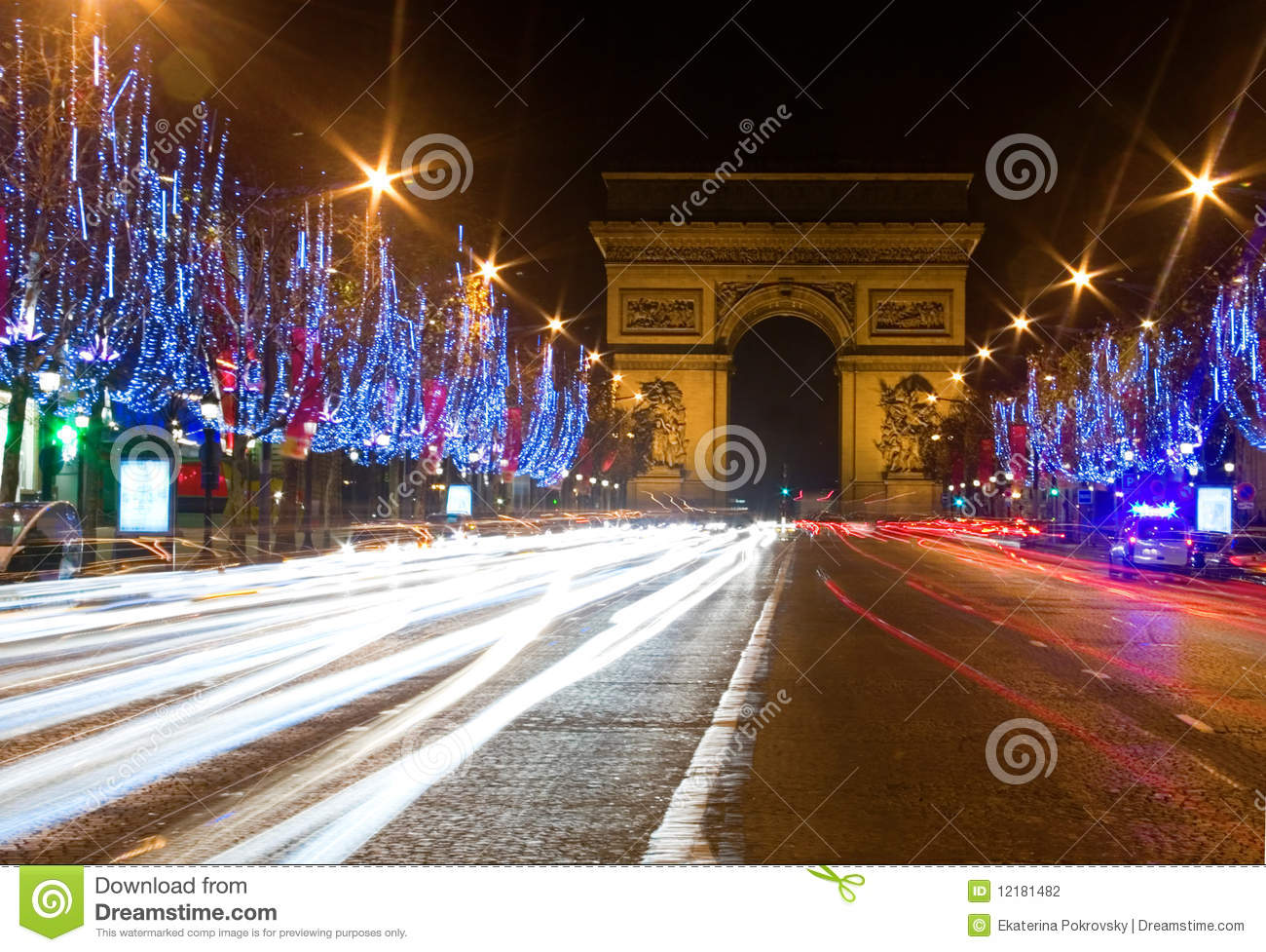 Night view of the Champs-Elysees