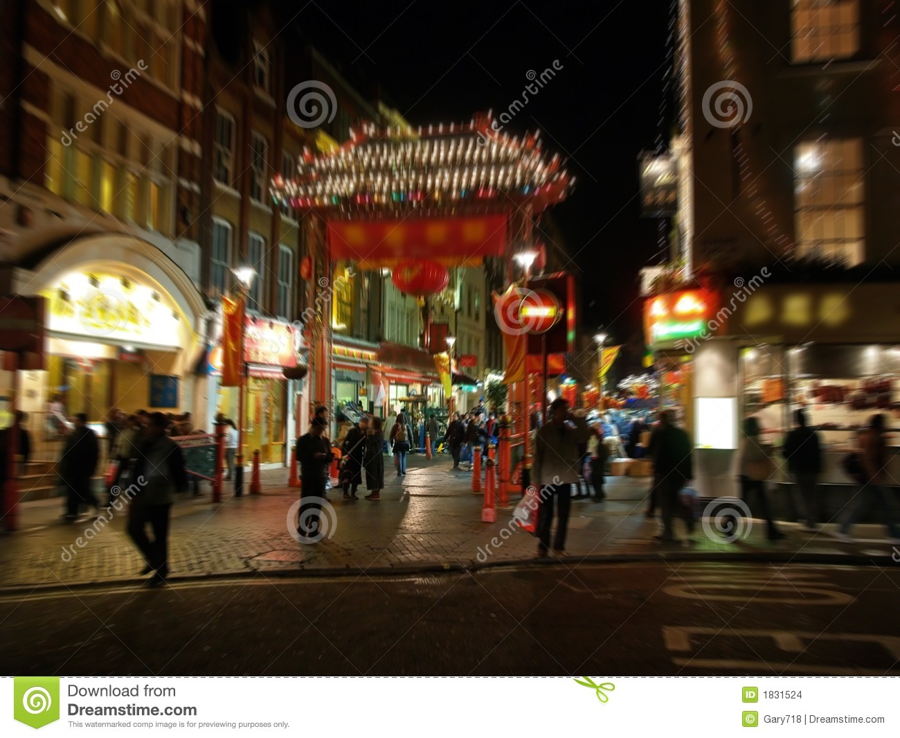 A night view of the Chinatown in London