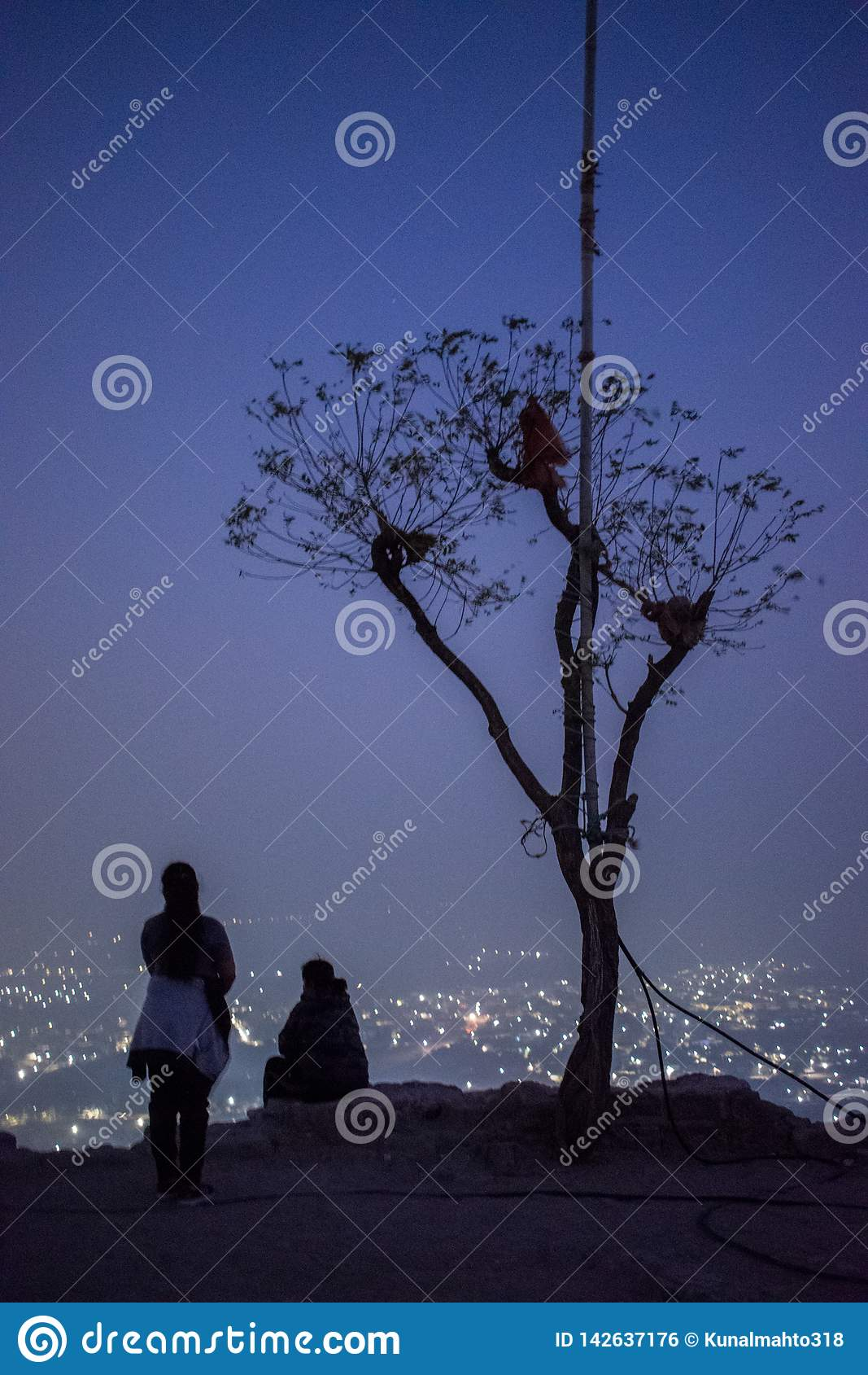 Night view of city from top of hill