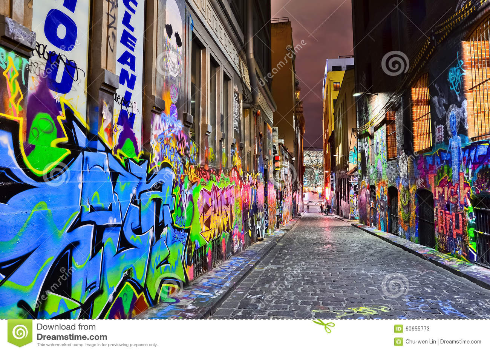 Night View Of Colorful Graffiti Artwork In Melbourne