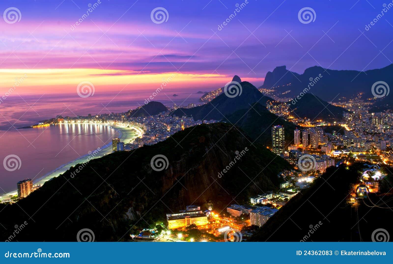 Night view of Copacabana beach and Botafogo in Rio