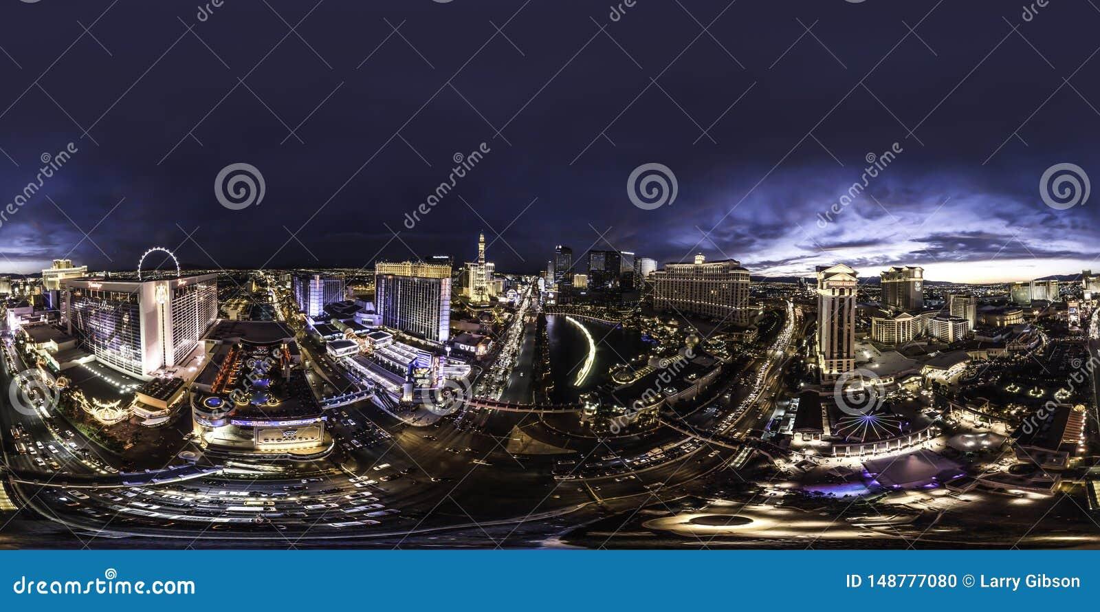 A night view of downtown Las Vegas the strip