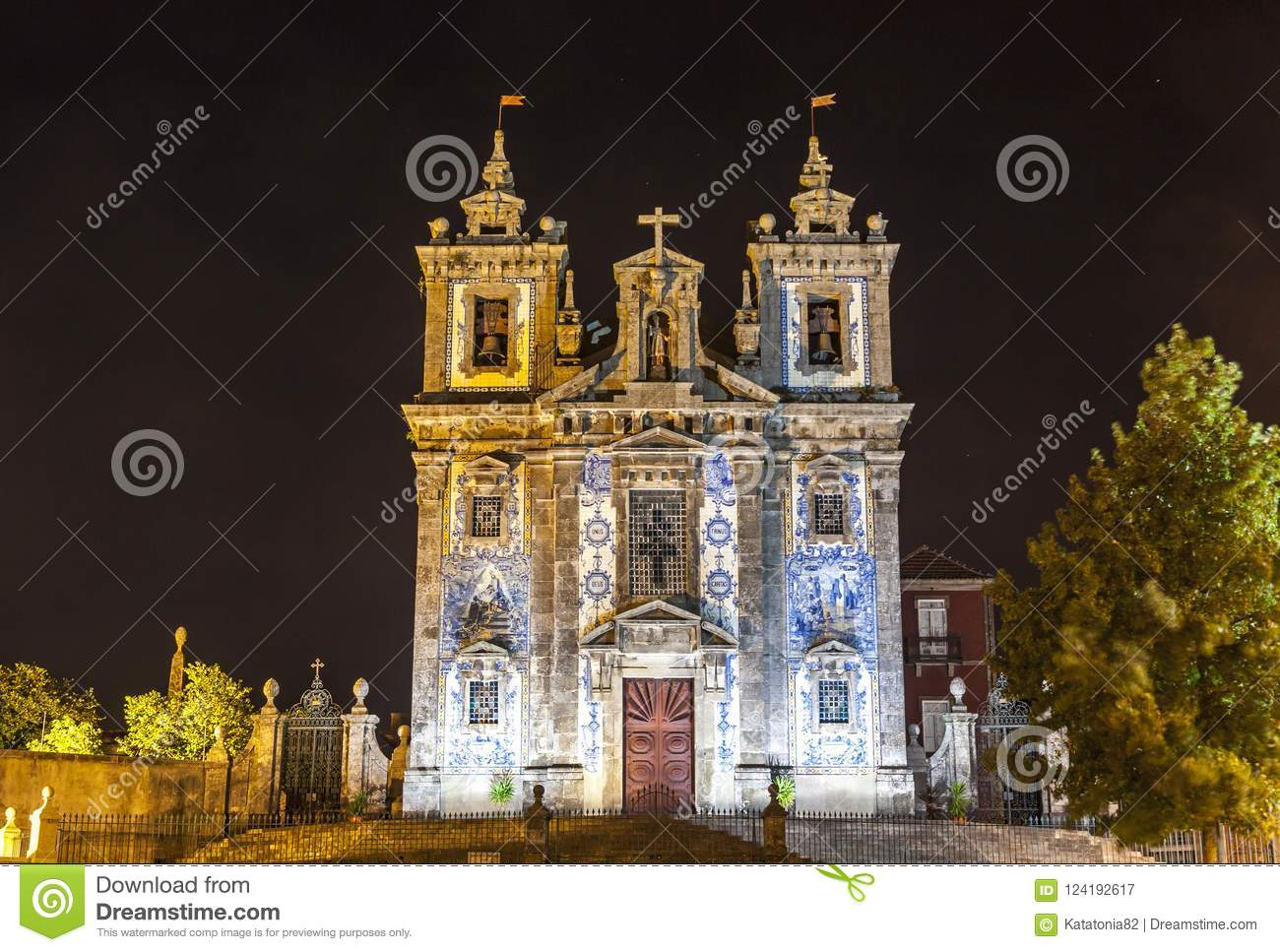 Facade of Church of Saint Ildefonso in Porto city, Portugal