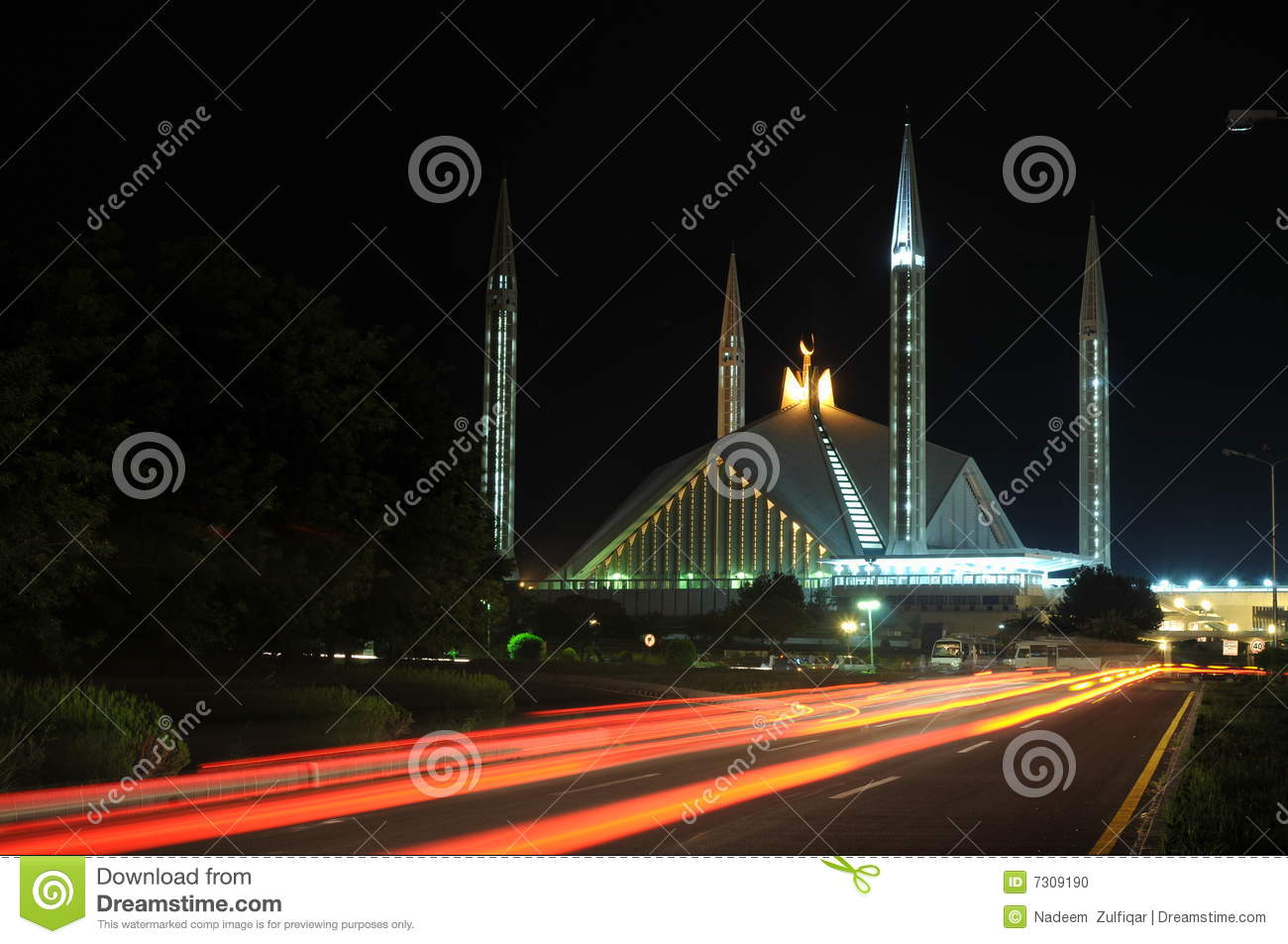 Download Night View Of Faisal Mosque Stock Photo - Image of lighted, faisal: 7309190