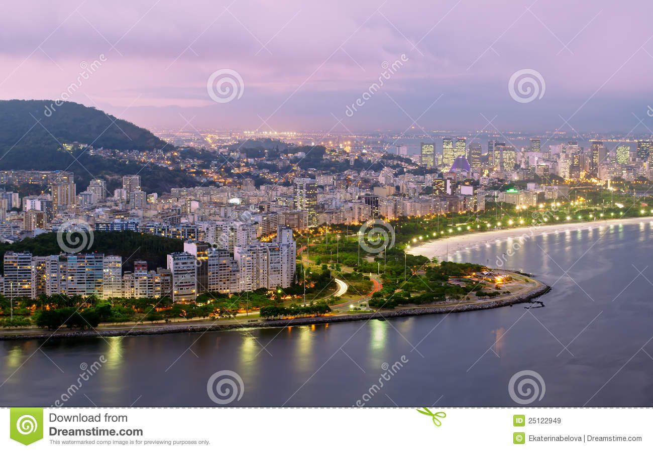 Night view of Flamengo beach and district in Rio d