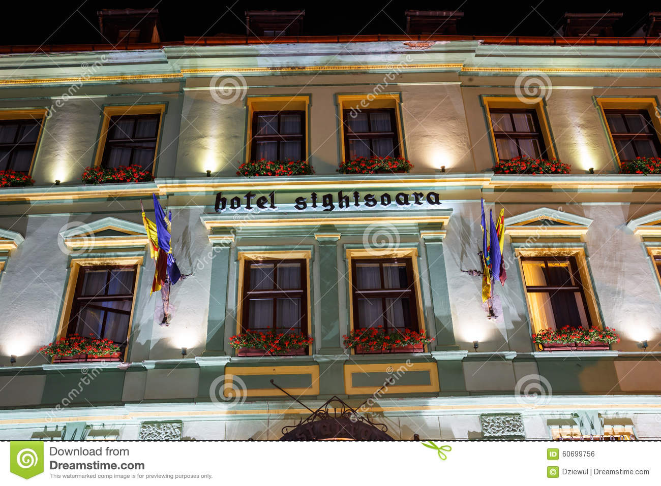Night view of historic town Sighisoara on July 07, 2015. City in which was born Vlad Tepes, Dracula